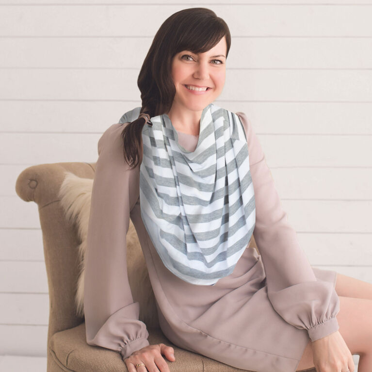 Itzy Ritzy Mom Boss 4-in-1 Multi-Use Cover - Heather Gray Stripe
