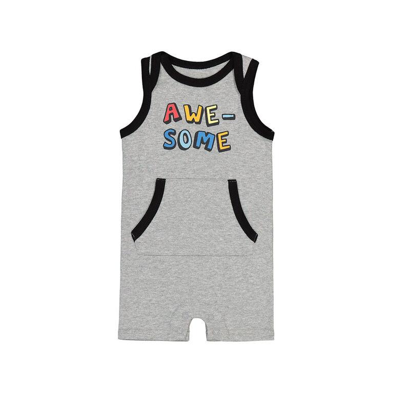 Snugabye Boys - Sleeveless Romper W/Konga Pocket - Awesome Grey 3-6 Months