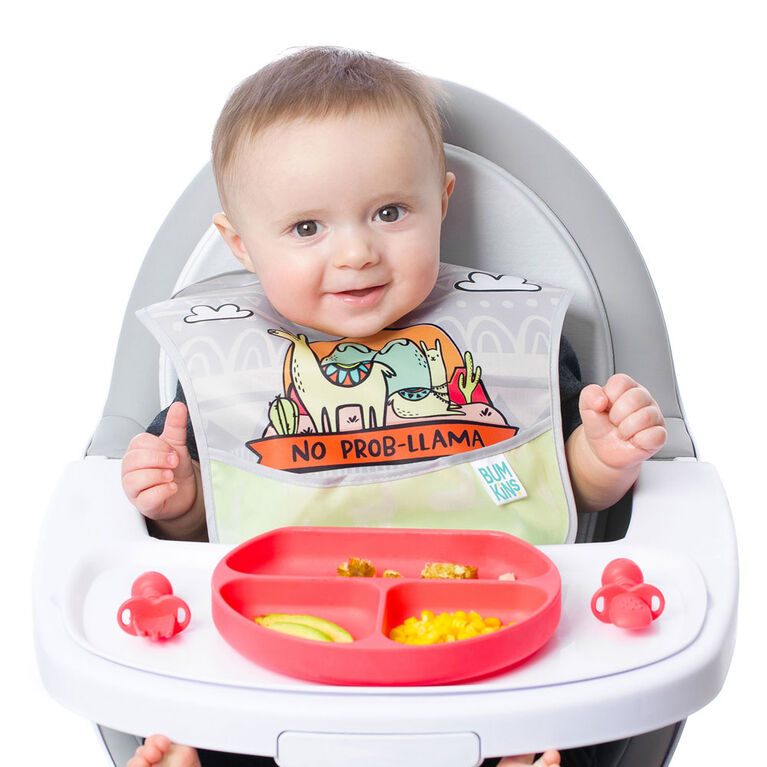 Bumkins SuperBib, Baby Bib, Waterproof, Washable, Stain and Odor Resistant, 6-24 Months - 3-Pack - Llama
