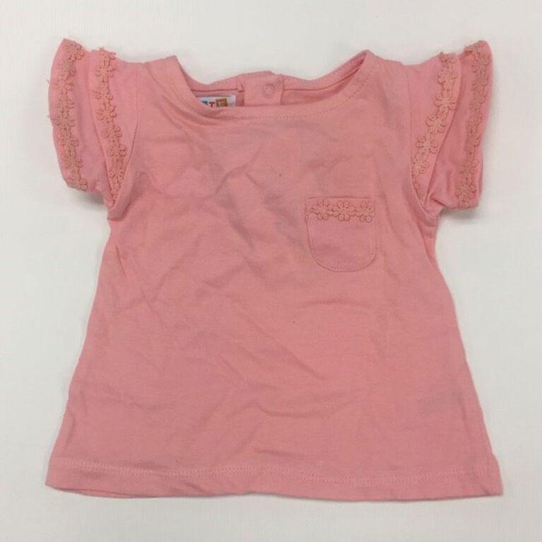 Coyote and Co. T-shirt à manches volantées - Rose saumon - de 0 à 3 mois.