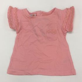 Coyote and Co. Salmon Pink Ruffle Sleeve Tee - size 3-6 months