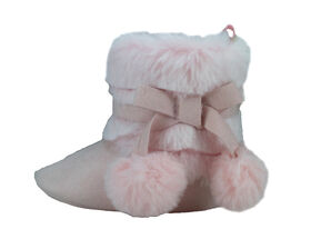 First Steps Blush Pink with Ombre Faux Fur Girls Booties Size 3, 6-9 months