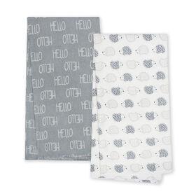 Paquet de 4 couvertures en flanelle biologique de Gerber, hérisson et Hello .