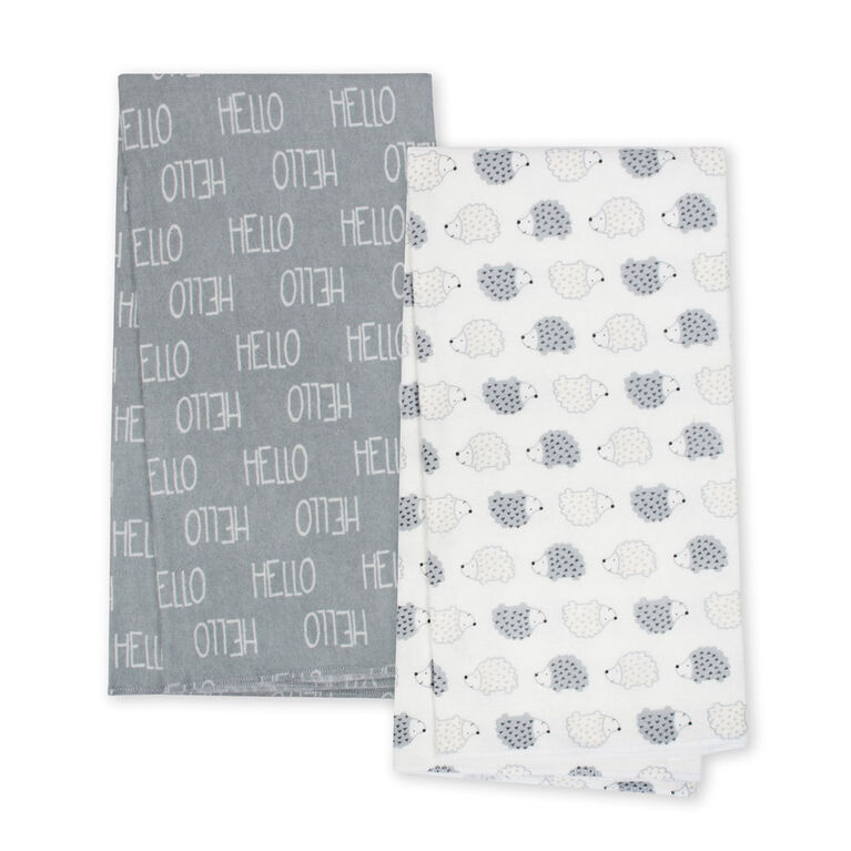 Gerber Organic 4-Pack Flannel Blankets, Hedgehog and Hello