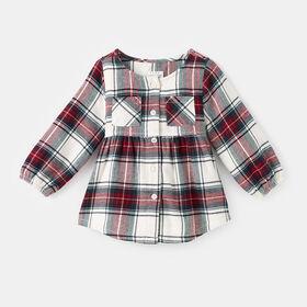 plaid button down blouse, size 18-24m - Cred