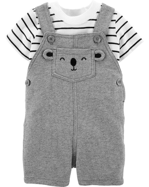 Carter's 2-Piece Striped Tee &  Bear Shortall Set - Grey/Ivory, 24 Months