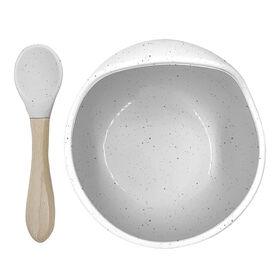 Silicone bowl & spoon set Day Dream Grey