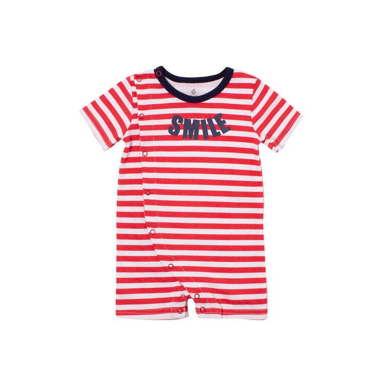 Snugabye Boys-Side Opening Romper- Smile Red/White 3-6 Months