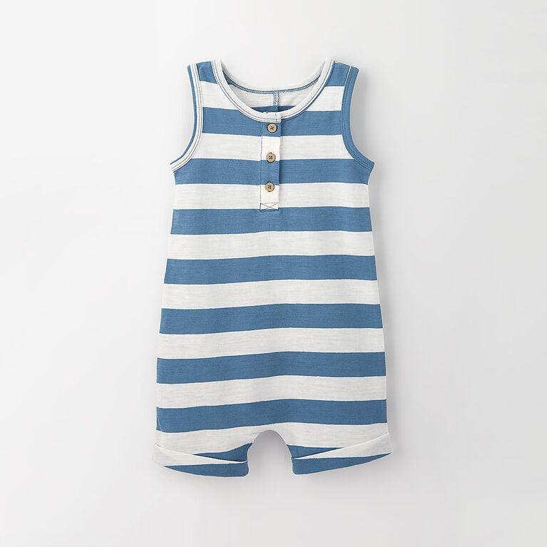 little sailor romper, 18-24m - mid blue