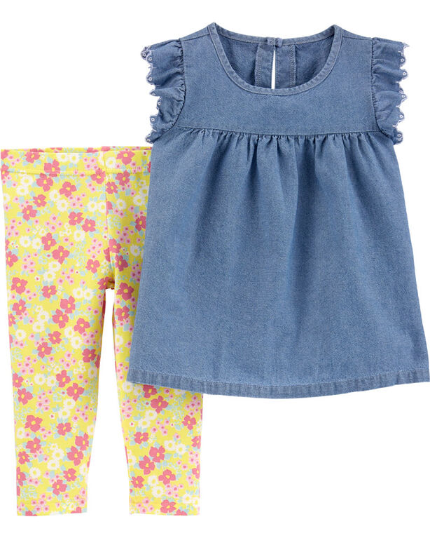Carter's 2-Piece Chambray Top & Floral Legging Set - Blue/Yellow, 6 Months