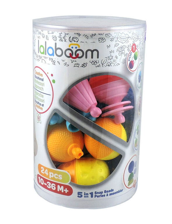LALABOOM Educational beads 5 in 1 - Tube of 24 pcs