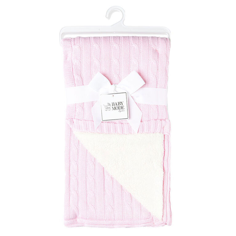 Pink Cable Knit Sherpa Baby Blanket