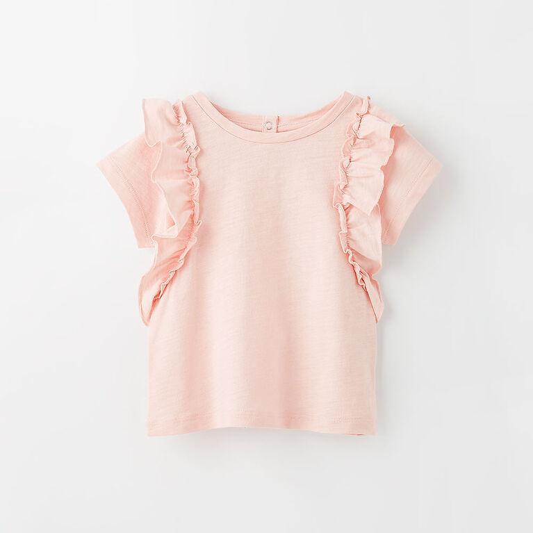 9-12m t-shirt à volants - rose pâle