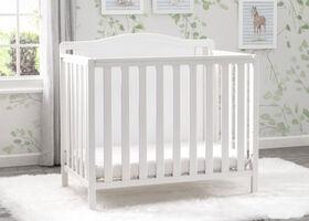 Delta Children Willow Mini Crib with Mattress and 2 Sheet - Bianca White