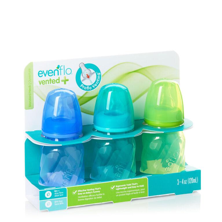 Biberons ventilés en polypropylène et verre teinté Vented + Evenflo – sarcelle, vert, bleu, 4oz, emballage de 3.