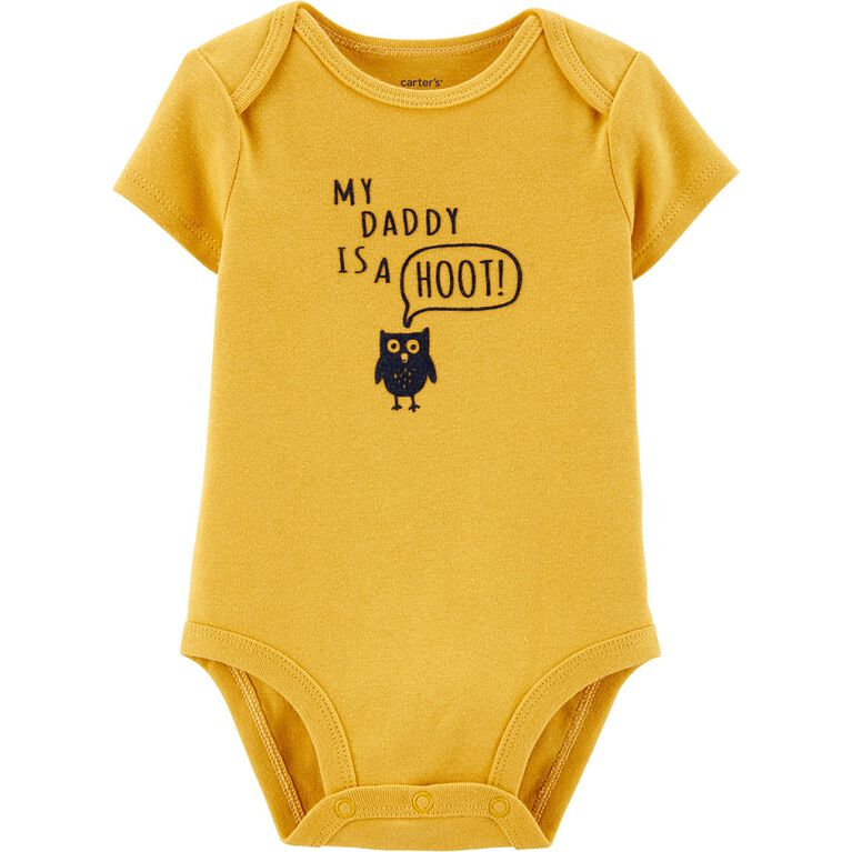 Carter's My Daddy Is A Hoot! Collectible Bodysuit - Yellow, 18 Months
