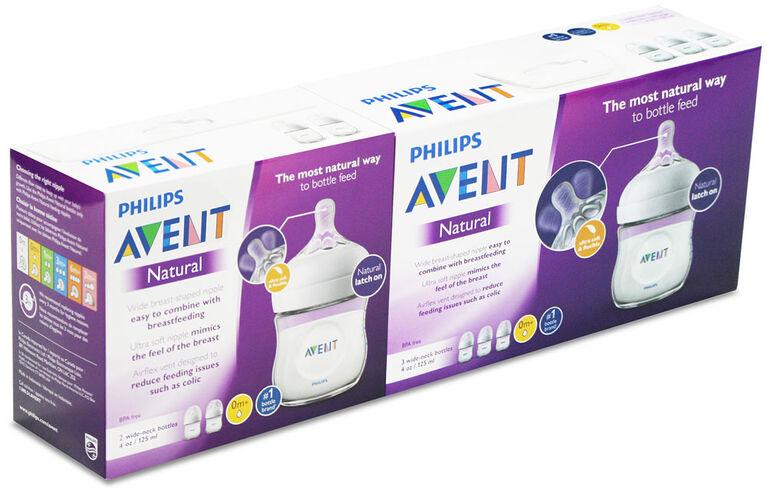 Philips Avent Natural Baby Bottles, Clear, 4oz, 5pack bundle SCF010/5PK
