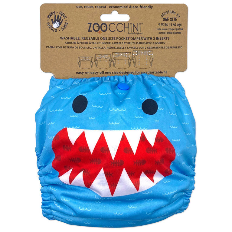 Zoocchini - Cloth Diaper & 2 Inserts - Shark - One Size - 7-35 lbs