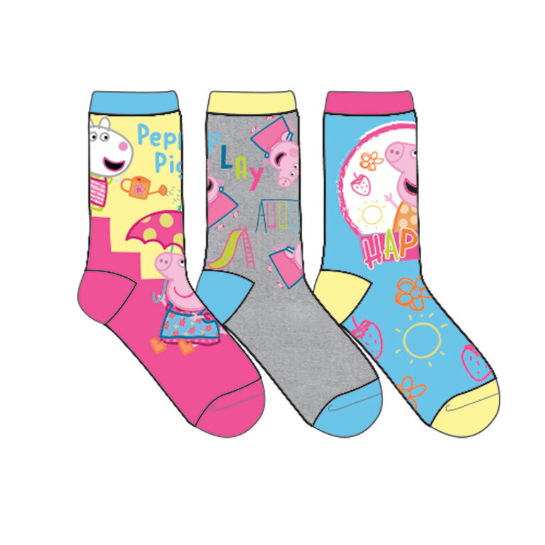 Eone - Girls 3 Pack Crew Sock - Peppa Pig, Assorted, 2-6 Year