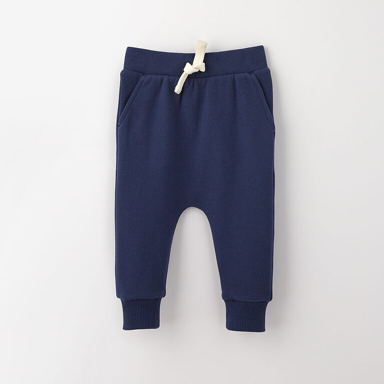 drop-crotch cozy sweats, 6-9m - dark blue