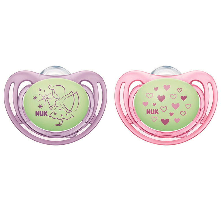 NUK Airflow Glow-in-the-Dark Pacifiers, 0-6 Months, 2 Pack, Assorted Colors