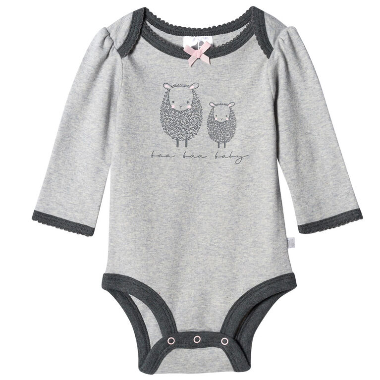 Just Born Baby Girls' 2-Piece Organic Long Sleeve Onesies Bodysuit and Pant Set - Lil' Lamb 0-3 months