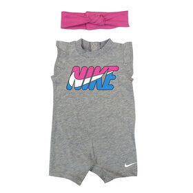 Nike Romper with Headband - Grey, 9 Months