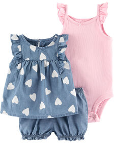 Carter's 3-Piece Chambray Diaper Cover Set - Blue/Pink, 3 Months