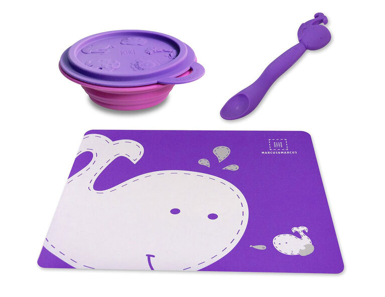 Marcus & Marcus Placemat & Collapsible Bowl & Feeding Spoon - Willo the Whale - Purple