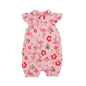 Snugabye Girls-Collar Floral Romperwith Ruffle Sleeve 3-6 Months