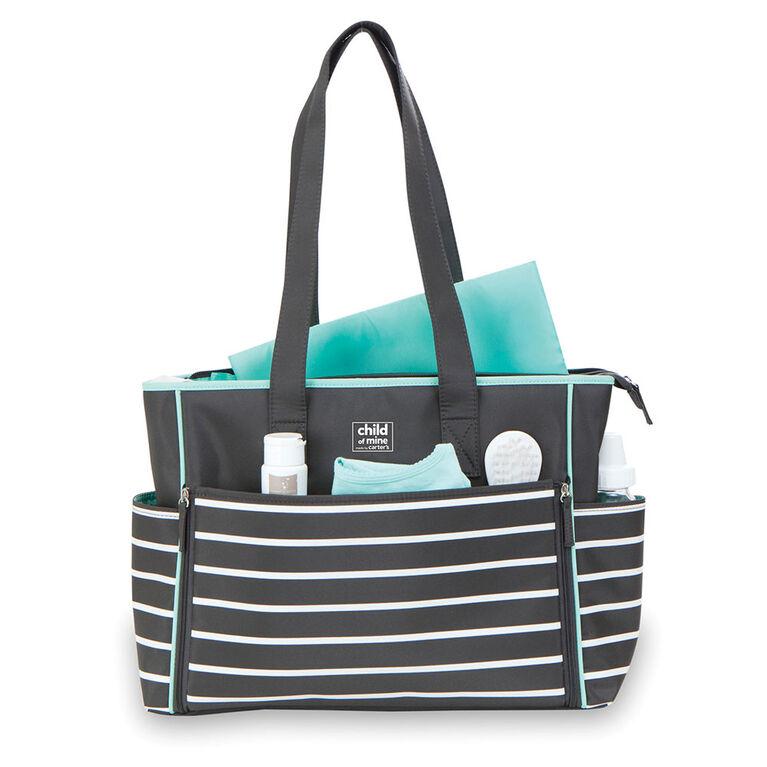 Carter's Child of Mine Zip Down Front Diaper Bag - Black & White Stripes