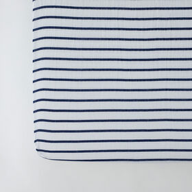 Red Rover - Cotton Muslin Crib Sheet - Navy Stripe - R Exclusive