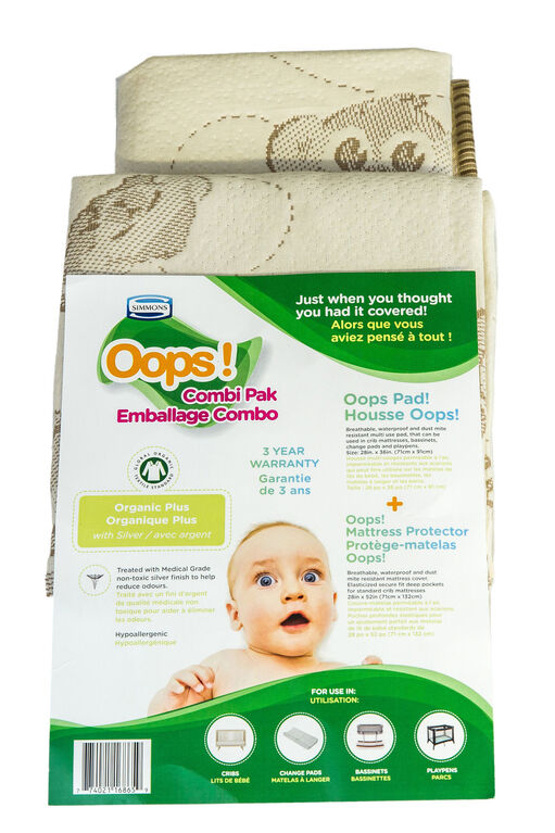 Simmons Oops! Pad & Protector Organic Combi Pack