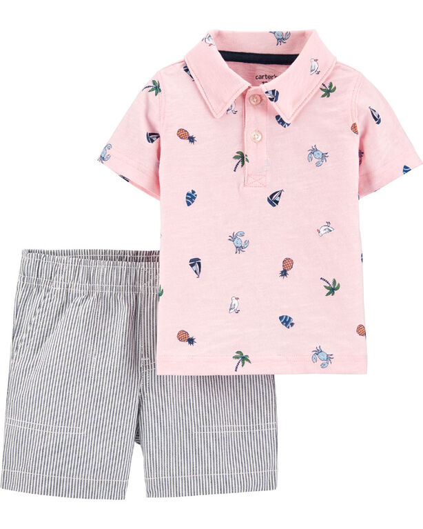 Carter's 2-Piece Beach Polo & Striped Short Set - Pink/Blue, 9 Months