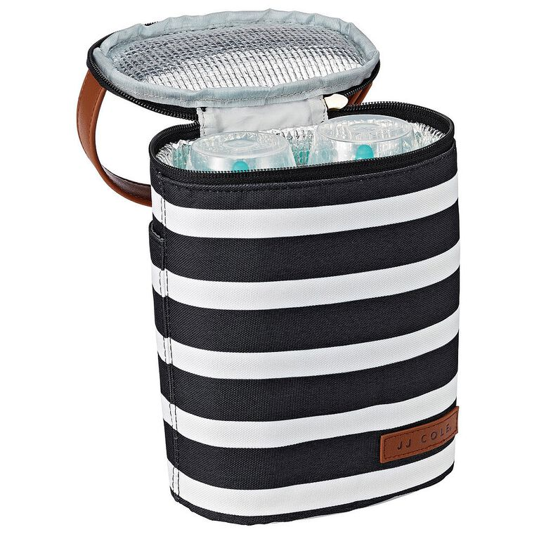 JJ Cole Bottle Cooler Bag - Black & White Stripe