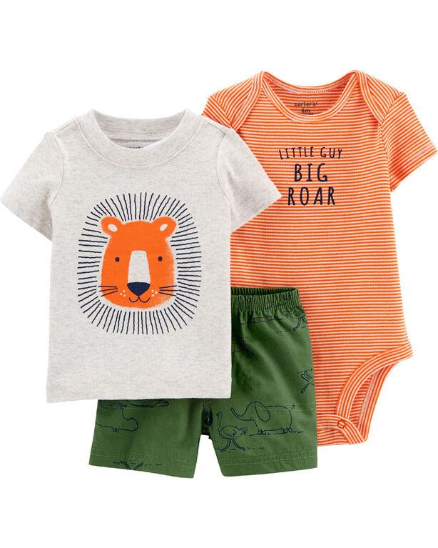 Ensemble 3 pièces couvre-couche à lion Carter's – orange/vert, 18 mois