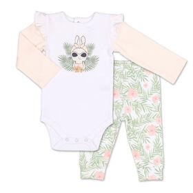 Ensemble 2pièces Koala Baby Tropical pour fille - combinaison avec lapin et pantalon de sport à motif floral, 3-6 Mois