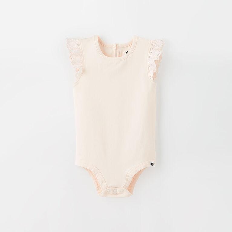 ruffle  bodysuit,  3-6m - pearl