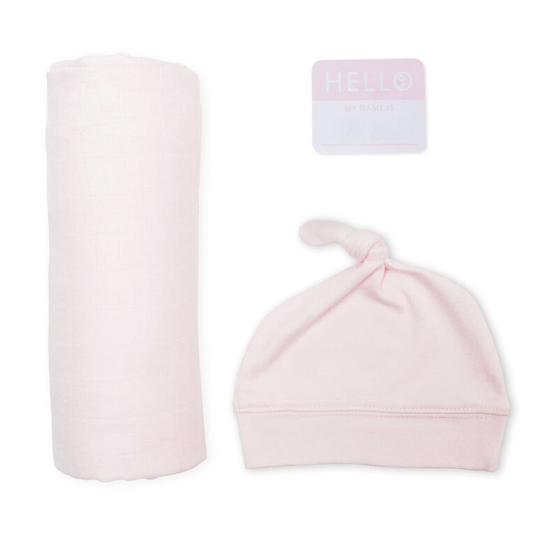 Lulujo Baby Hello World Newborn Bamboo Hat and Swaddle Blanket Set Pink