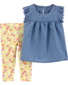 Carter's 2-Piece Chambray Top & Floral Legging Set - Blue/Yellow, 12 Months