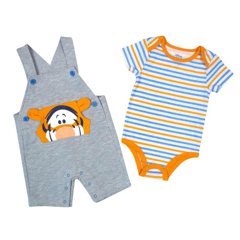 Disney Tigger 2-Piece Shortall Set - Grey, 3 Months