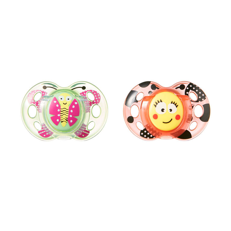 Tommee Tippee 2-Pack 6-18 Months Fun Style Pacifier - Pink/Purple - Patterns may vary