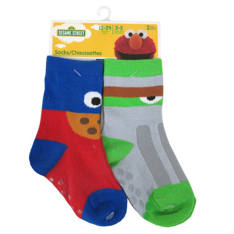 Sesame Street - 2 Pack Crew Sock - Sesame Steet, Blue, 0-12M