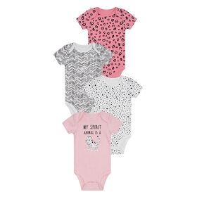 PL Baby Feline Fabulous Diaper Shirts 4pk Coral 6M