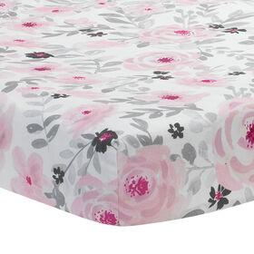 Drap-housse ajusté pour lit de bébéfloral rose/gris Fleurs Bedtime Originals.