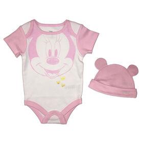 Disney Minnie Mouse Cache couche et chapeau - Rose, 6 mois.