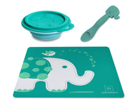 Marcus & Marcus Placemat & Collapsible Bowl & Feeding Spoon - Ollie the Elephant - Green.