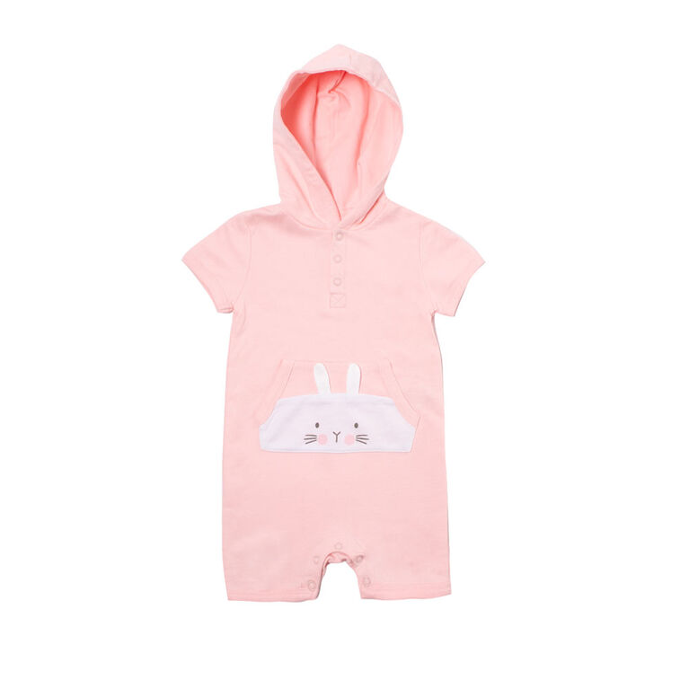 Snugabye Girls Hooded French Terry Romper - Pink Cat 12 Months