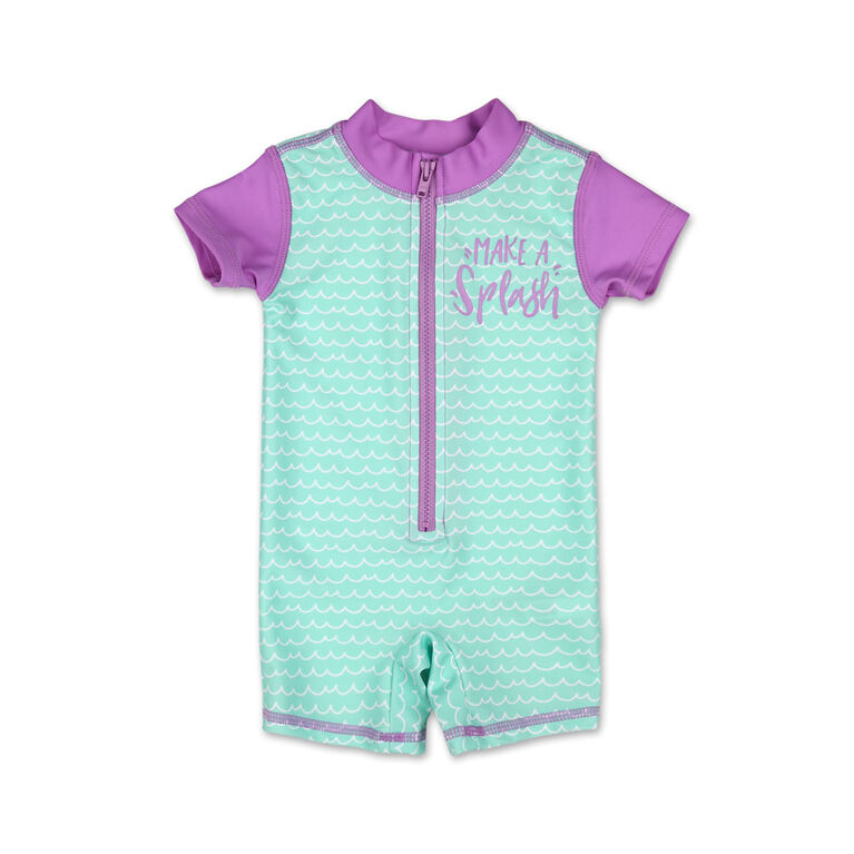 Koala Baby Short Sleeve 1Pc Rash Guard Aqua Scallop Print 3-6 Months