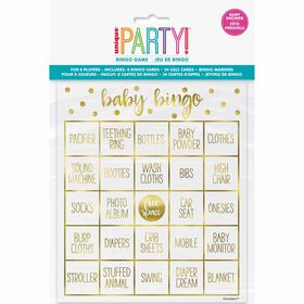 Gold Baby Shower Bingo Kit for 8 - English Edition